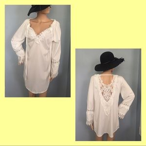 NWOT White Long Sleeve Lace Detail Mini Dress!